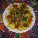 Patatas, brócoli y champiñones